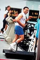 Man running on treadmill