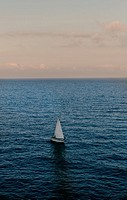 Sailboat, Peñiscola, Castellon province, Mediterranean sea, Spain