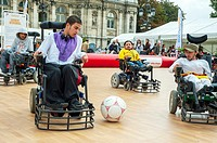 Paris, FRANCE - French Handicapped Athletes Playing in Wheelchairs, in Soccer Class at Paris 'Rencontres EDF Handisport'
