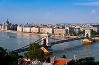 Panoramic view over Danube river with Chain Bridge and Hungarian Parliament Building in the background, Budapest, Hungary