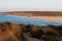 Portugal, Algarve, Sagres, View of beach with grass