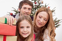 Family celebrating christmas, smiling, portrait