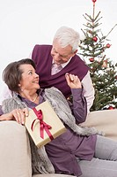 Senior couple leaning on sofa and woman holding christmas gift, smiling, portrait