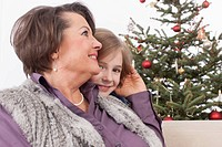 Grandmother and grandson smiling, Christmas tree in background