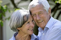 Germany, Bavaria, Senior couple smiling, close up