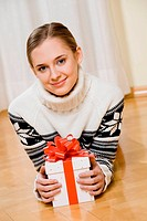 Woman with Christmas present.