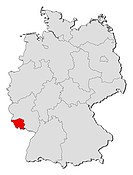 Map of Germany, Saarland highlighted