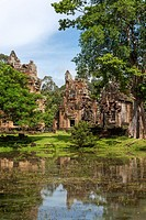 View of Prasat Suor Prat at Angkor Thom, Siem Reap province, Cambodia, Asia