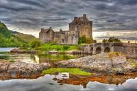 Eilean Donan castle and Loch Duich, Dornie, Highlands Region, Scotland, UK