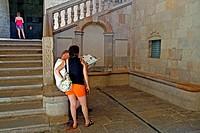 stairs, Palau del Lloctinent, s XVI, Plaça del Rei, Barcelona, Catalonia, Spain