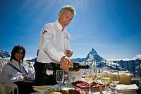 Switzerland, Canton Valais, Zermatt, Gornergrat, Kulmhotel Gornergrat, sommelier