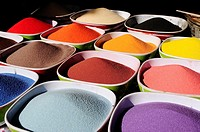 Colored sand to make glass bottles, Amman, Jordan, Middle East.
