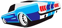 Vectorial image of blue muscle car