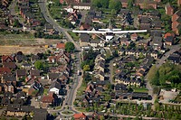 Aerial view, Cessna 172 flying over Werne, Ruhr area, North Rhine-Westphalia, Germany, Europe