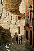 Pedestrian street near Cathedral in Toledo, Castile La Mancha, Spain