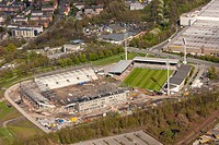 Aerial view, Rot-Weiss Essen stadium, Georg-Melches stadium, construction of the stadium, Essen, Ruhr area, North Rhine-Westphalia, Germany, Europe
