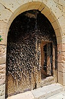 Entrance of the Castillo, castle, Ignacio Zuloaga Museum, village of Pedraza de la Sierra, province of Segovia, Castilla y Leon, Castile and León, Spa...