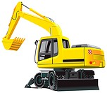 Detailed vectorial image of excavator isolated on white background