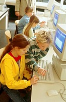 Pupils during the computer lessons