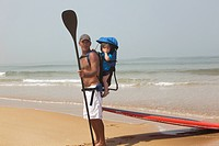 father and son stand up paddling together