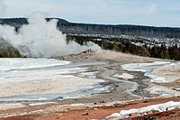 Old Faithful Erupting, Winter, Upper Geyser Basin in Yellowstone NP, WY