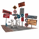 Two anthropomorphic figures surrounded by road signs , CGI