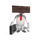 Blockheaded anthropomorphic businessman, CGI