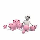 Anthropomorphic figure surrounded by piggybanks, CGI