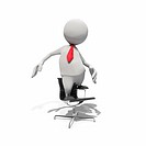 Anthropomorphic businessman standing on office chair, CGI