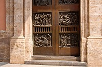 Carved door, basilica of the Virgen de los Desamparados, Valencia, Comunidad Valenciana, Spain