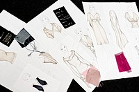 Fashion drafts and fabric swatches