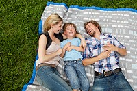 Happy family lying on blanket in meadow