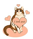 valentines day greeting card with tabby cat and heart