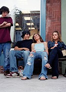 Teenagers Hanging Out on Bench