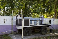 Funeral cart at the municipal cemetary on Isla Colon, Bocas del Toro, Panama