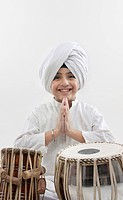 Sikh boy with a tabla