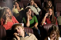 Audience Using Cell Phones at the Movies