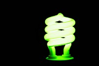 Energy saving lightbulb lighting up