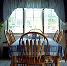 Country Kitchen Table with Table Cloth