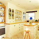 Dishware arranged in the cabinet is seen in an eclectic kitchen