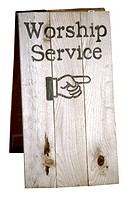 Sign showing direction to church worship service, includes clipping path