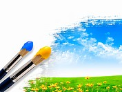 Paint brushes and landscape image