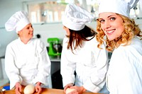 Group of professional female chefs