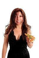 Woman holding a slice of pizza