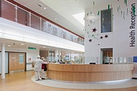 Houghton Primary Care Centre, Houghton Le Spring, United Kingdom. Architect P+HS Architects, 2011. Interior view of main reception.