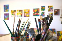 Artist Brushes in Studio