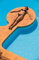 Woman at Swimming Pool at Summer Villa Maratea, Italy