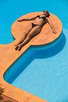 Woman at Swimming Pool at Summer Villa Maratea, Italy