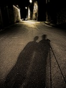Shadow of photographers at night, Corbalan, Teruel province, Aragón, Spain