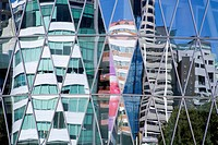 Reflections on a modern glass building, NZ Center, Central Business District, Auckland, North Island, New Zealand